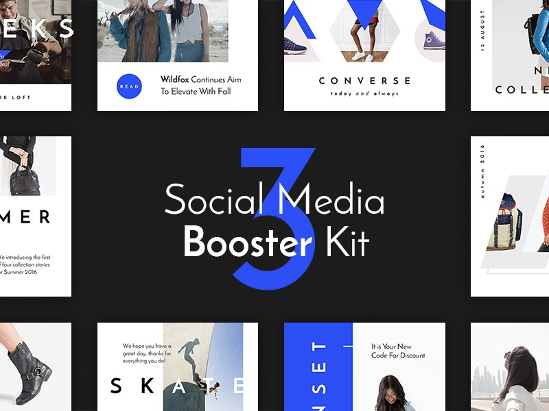 Social Media Booster Kit 3 typography twitter social media media kit instagram fashion facebook colors blogger blog banners