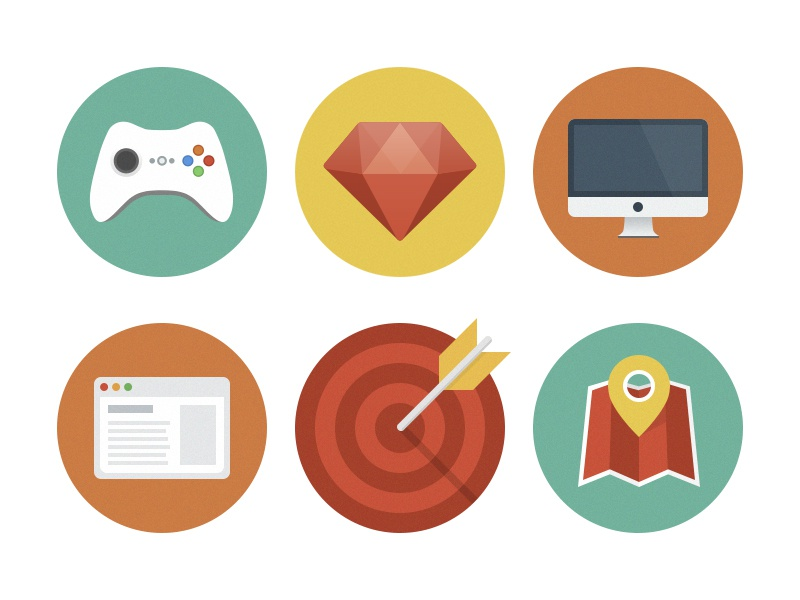 Flat icons icons flat imac diamond gamepad joypad browser map target