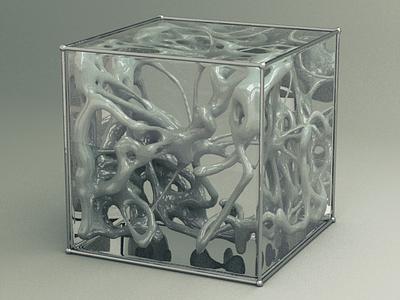 containment cube scifi studio textures transparent lighting physical render xparticles 3d render cinema4d design c4d