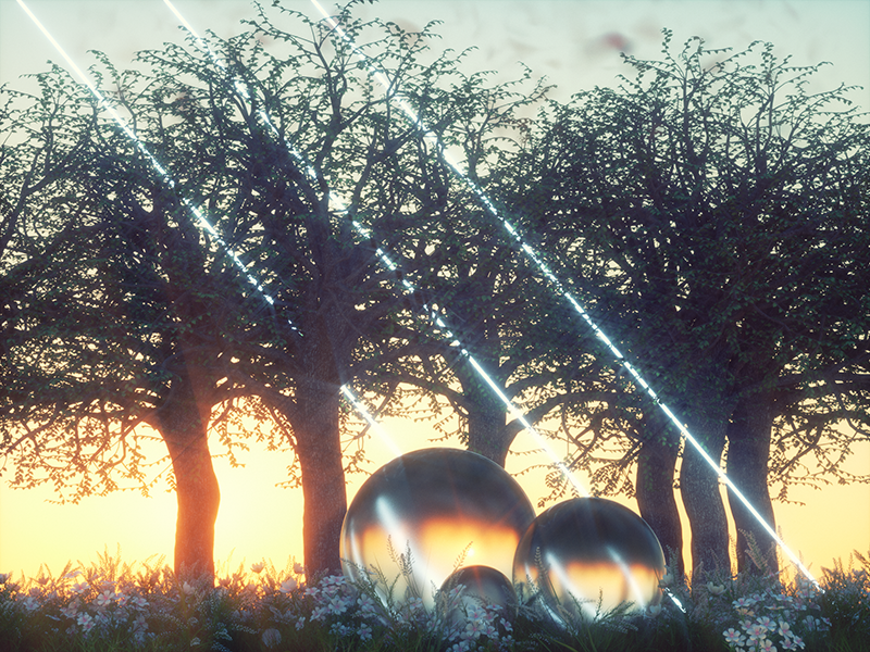 fake plaaastic spheres trees forest photoshop after effects cgi 3d x particles octane render octane c4d cinema 4d