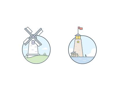 Illustration clouds grassland castle windmill ui icon illustration