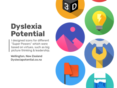 Super power Icons education icons creative colour virtues material design dyslexia powers