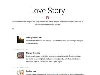 Lily WordPress Wedding Theme - Timeline clean white wordpress minimal simple wedding timeline