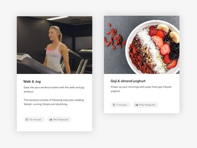 Card component for workouts and recipes design card component card module card ui