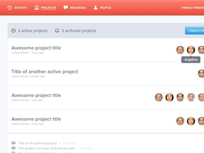 Projects projects collaboration ui design clean minimalist light avatars rows bright helvetica proxima