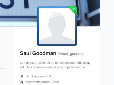 Dummy Saul Goodman storify avatar placeholder ui blue white light clean picture frame