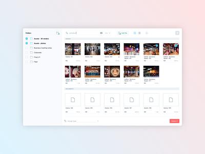 Rialto • File manager ui design interface web gradient uploads file upload file manager files light ui design application app product design