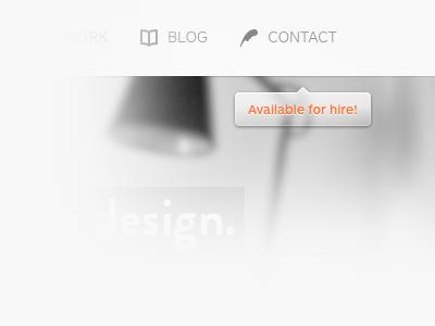 Portfolio portfolio web design menu contact blog icons bubble tooltip header