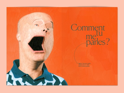 L'ADN 22 cover art, inner paper art art paper collage illustration paper collage character design open mouth mouth portrait coverart ladan