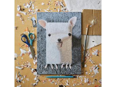 Dobby, studio studio illustration paper art collage portrait dog dogs