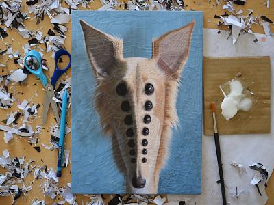 Cleo, studio illustration collage studio dogs dog eyes
