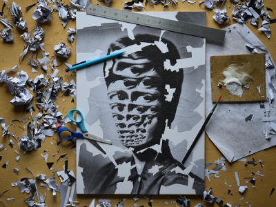 Rand, processp paper collage scissors eyes studio portrait