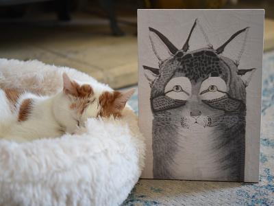 Cat after Nathaniel Currier, Charlie illustration portrait charlie cat
