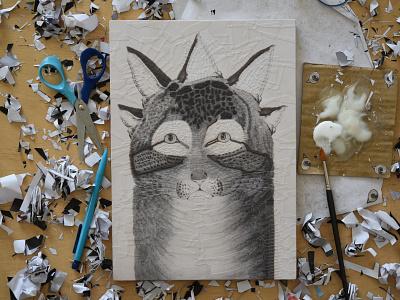 Cat after Nathaniel Currier, studio illustration portraits eyes cat portrait studio