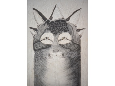 Cat after Nathaniel Currier illustration collage ear ears eyes cats cat portrait