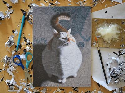 Charlie 32, studio cats paper portrait cat charlie studio