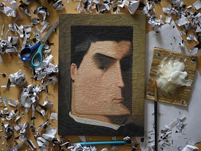 After Leon Bonnat, studio illustration portrait collage paper