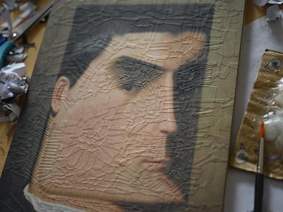 After Leon Bonnat, detail paper collage portrait studio detail