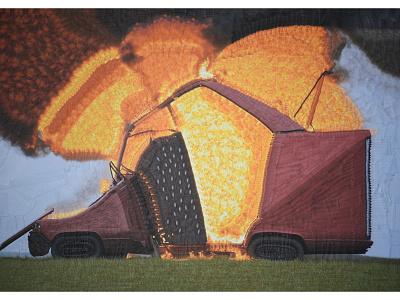 Smokey collage illustration burning car car fire burning