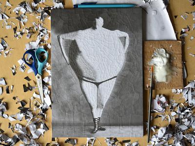 The Moon Revealed, studio illustration studio paper body circle collage