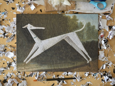 Lollypop, studio paper studio collage dogs dog
