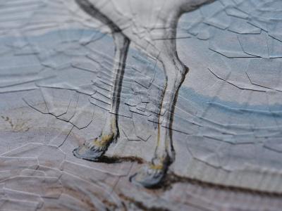 After Joris Hoefnagel, detail illustration paper collage horses horse