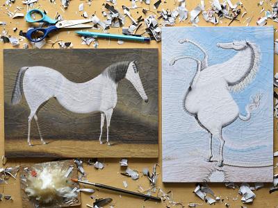 Equine portraits, studio equestrian equine studio horses horse illustration paper collage