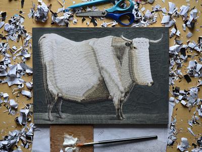Bull after Jean Bernard, studio animal bull studio illustration paper collage
