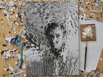 Jasper Johns NYT studio 2 paper collage portrait illustration paper collage studio jasper johns