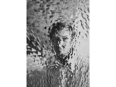 Jasper Johns for the New York Times art paper collage portrait illustration paper collage