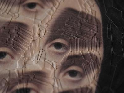 After Ingres, detail paper portrait detail studio collage eyes