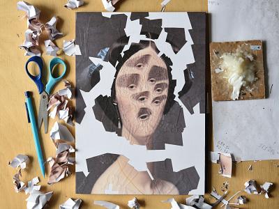 After Ingres, process surreal eyes eye studio art paper collage portrait illustration paper collage