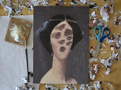After Ingres, studio eyes portraiture surreal eye art paper collage portrait paper collage illustration