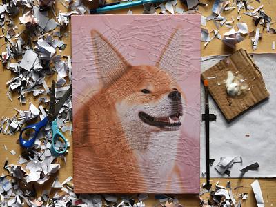 Tofu, studio 1 collage dog illustration illustration portrait studio dog