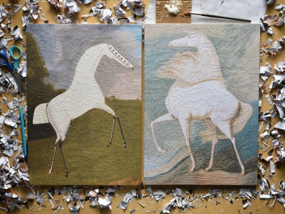 After George Stubbs, After James Ward, studio paper collage paper illustration collage studio horses horse