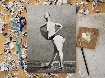 The Pigeon, studio chest figure illustration collage paper