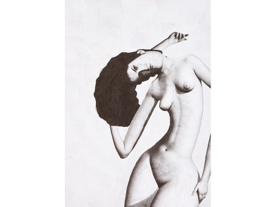 Chica Desnuda hair paper collage paper collage female nude illustration