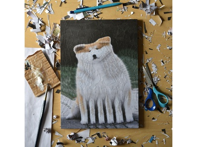 Thick Cheeks, studio paper art scissors studio collage art art paper collage portrait illustration paper collage canine dog dogs