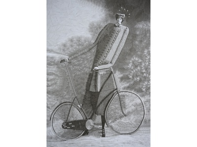 Anonymous cyclist collage art art paper collage illustration bicycling cycling cycle bicycles bicycle collage