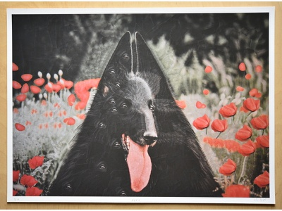 Print giveaway on Instagram paper artists paper collage canine dog tounge illustration art collage dogs prints