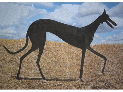 Izzy silhouettes silhouette paper art paper collage collage illustration galgo dog dogs
