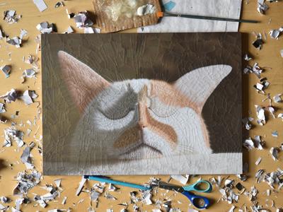 Charlie 25, studio scissors glue artist studio studio illustration paper collage cats of dribbble cats cat