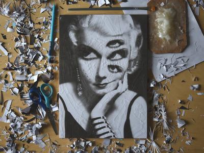 Jean Harlow, studio jean harlow studio eyes illustration paper portrait
