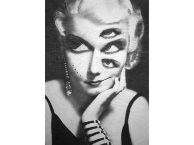 I dream of Jean Harlow eyes paper art collage art art paper collage portrait illustration paper collage