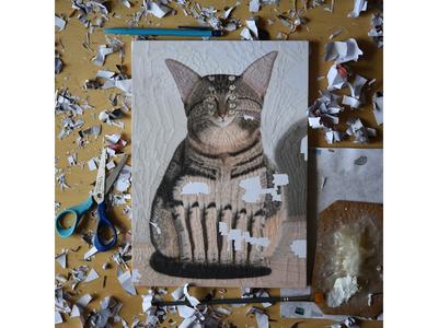 Darwin, work in progress process collage paper collage studio legs portrait illustration cats cat