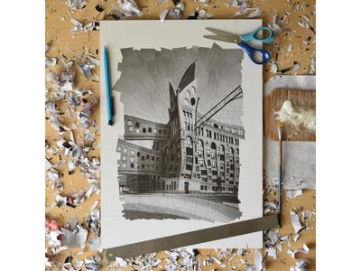 Baffler studio 1 lola dupre the baffler illustration paper studio collage buildings architechture