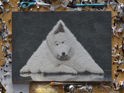 Edwin, studio scissors studio art collage art paper collage portrait paper collage illustration dogs dog triangle