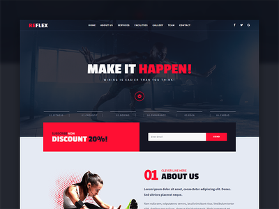 Reflex - Fitness Gym Muse Template sport club gym fitness website responsive theme template muse adobe