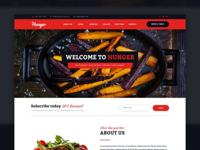 Hunger - Restaurant Muse Template  bakery pub bar caffe restaurant website responsive theme template muse adobe