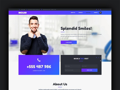 Molar - Adobe Muse Template muse landing page template one-page responsive dental clinic dentist healt care medical